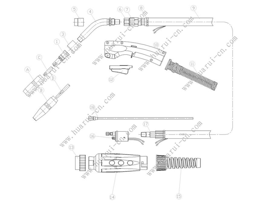 Bernard350焊枪示意图-Model